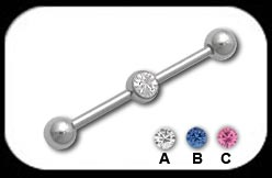 Industrial Scaffold Barbell with Jewelled ball