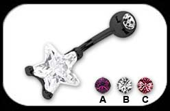 Black Steel Belly Bar Star
