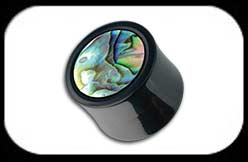 Paua Shell Inlaid Horn Flesh Plug